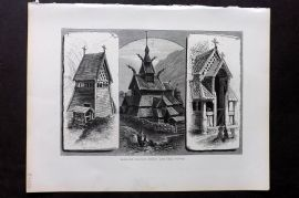 Picturesque Europe 1870s Print. Borgund Church, Porch & Bell Tower, Norway